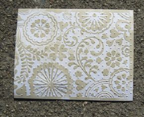 Double embossing This technique involves using two different embossing folders and inking, and can use either of a couple of the coloring methods discussed above. The ink will highlight the first folder's pattern, while the texture will show the second. This technique plus many others using embossing folders! By Kathy Berger.
