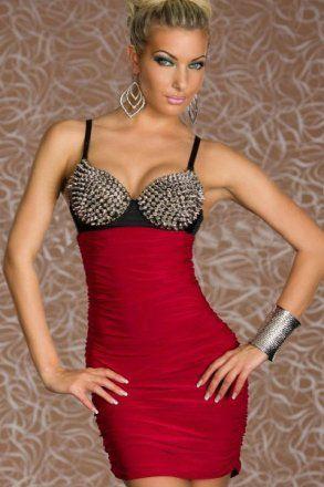 Punk Rivets Bra Top Club Dress Red|LC2680-3|Sexy Clubwear