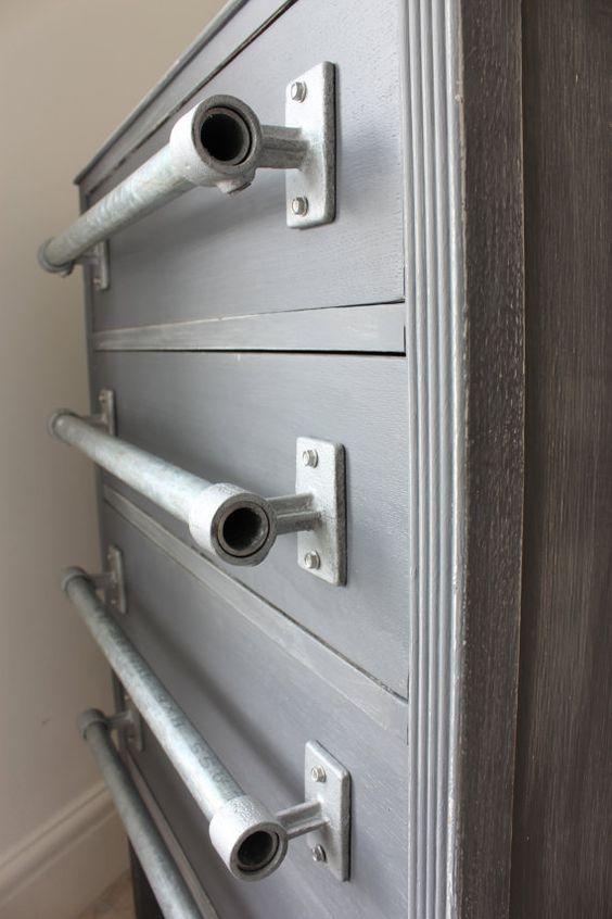 Pair Of Industrial Galvanised Steel Pipe Door Drawer Pull