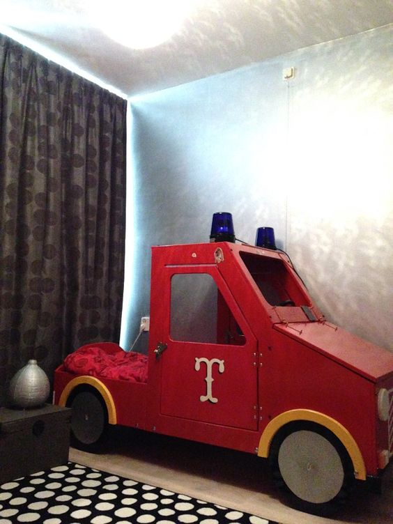 Fire-truck bed and silver painted wall