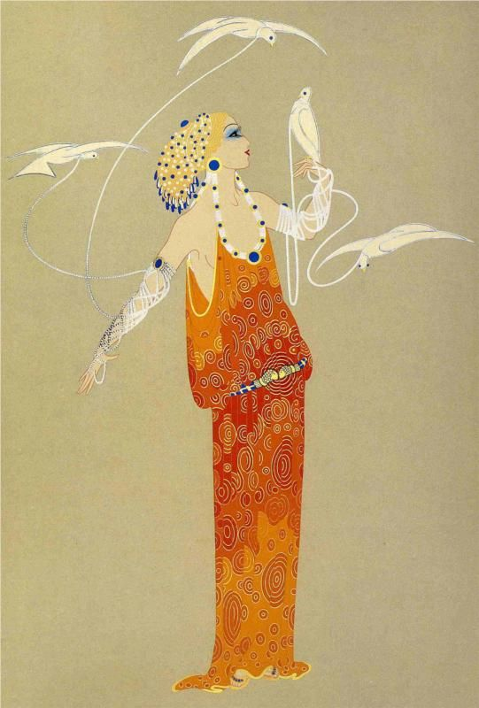 """Erte was the only designer in the 20s who illustrated his own designs. """"He envisioned women not only as ultra-chic creatures for whom money was no object but also as…..music hall stars, Assyrian princesses, Egyptian Queens.. Yet under this veil of fantasy, the clothes and accessories Erte created, reveal a sound construction that really works."""" Stella Blum, Metropolitan Museum of Art Costume Institute Curator."""