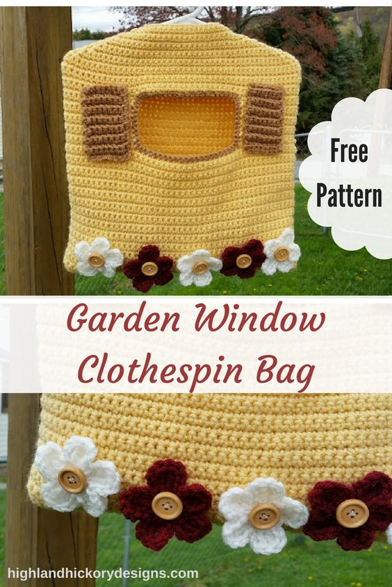 This Garden Window Clothespin Bag has a deep pocket and can hold over 100 clothespins. It uses a child-sized hanger and can be hooked onto your clothesline.