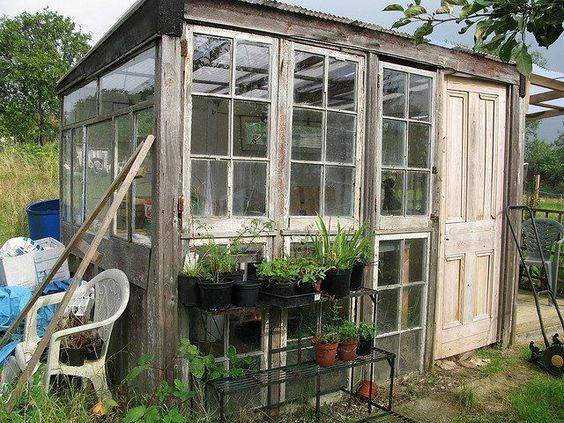 Window greenhouse diy greenhouse and recycled windows on for Reclaimed window greenhouse