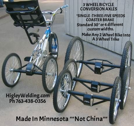 Conversion kit to repurpose any bike into an adult tricycle or special needs three 3 wheel tricycle. Also for tandems and optional dually (two wheels either side) options.