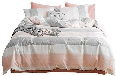 Amazon Com Fendie Striped Bedding Set Modern Peach White Gray Color Duvet Cover 2 Pillow Cases Set Premium Cotton T In 2020 Bed Styling Girls Duvet Covers Girls Duvet