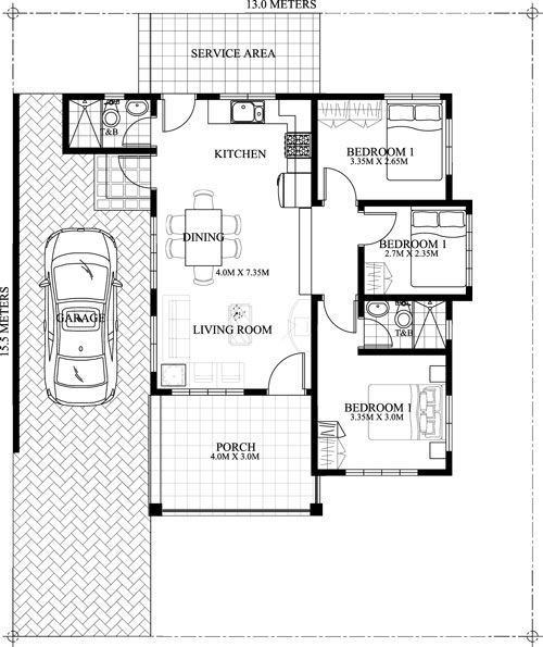 Stunning Layout Of One Storey Houses With Three Bedrooms Design