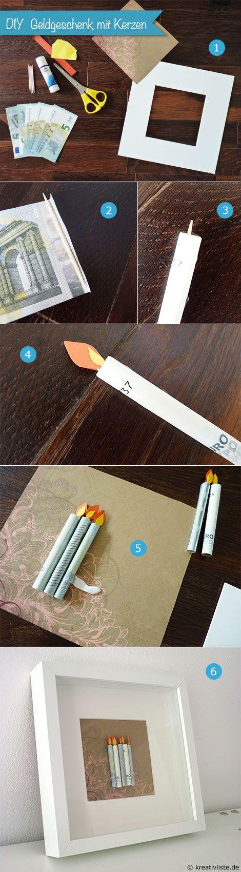 Geld... Weihnachten und Advent... aufgerollte Scheine ergeben tolle Kerzen, die auf Papier geklebt werden.