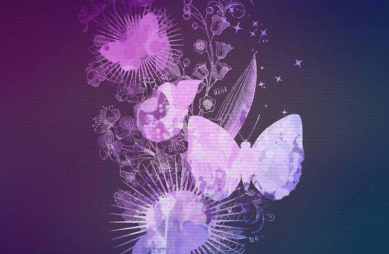 Double exposure,purple,abstract,floral,Butterflies,elegant,vintage