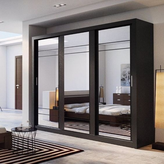 details about wardrobe closet with mirror sliding doors. Black Bedroom Furniture Sets. Home Design Ideas