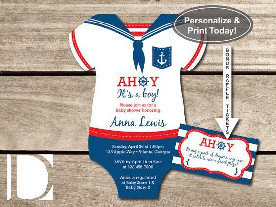 Nautical Baby Shower Invitation, Onesie, Ahoy, It's a Boy, Navy ...