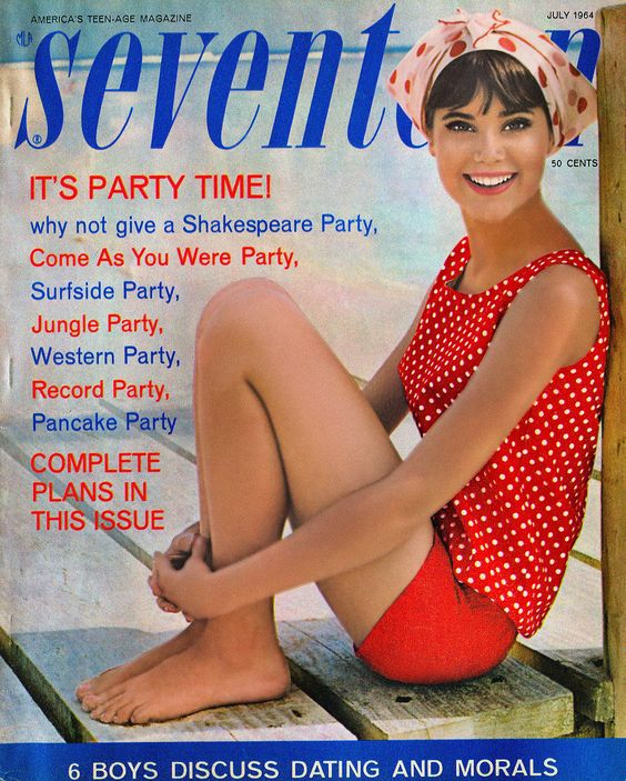 Popular Sixties fashion model Colleen Corby graces the cover of the July issue of Seventeen magazine. From Shakespeare to pancakes, 1960s teens could be inspired by anything to throw a party!