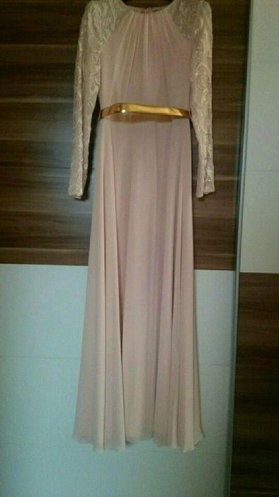 Rosé Abendkleid mit Rändelung