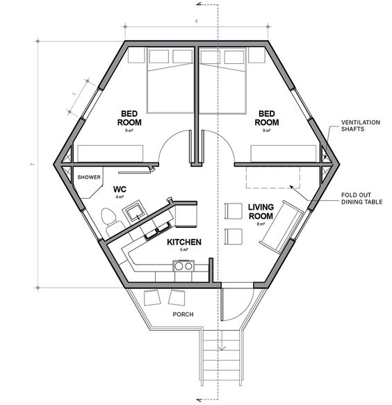 hexagonal shelters for refugees- Single unit plan