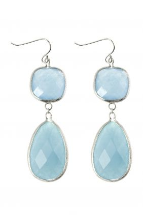 Aqua Jade Ohrringe Sterling Silber
