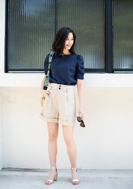 毎日コーデ ショートパンツを大人ヘルシーに 動きやすいのに上品なbbqコーデ ファッション ガールズファッション 夏 ファッション