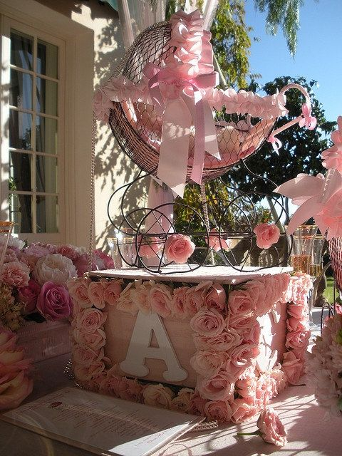 Baby carriage centerpieces and vintage cards on pinterest