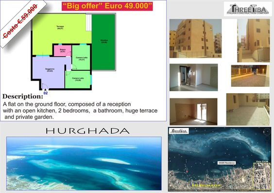 A two bedroom Flat in Hurghada, Red Sea for sale with a great offer this summer.