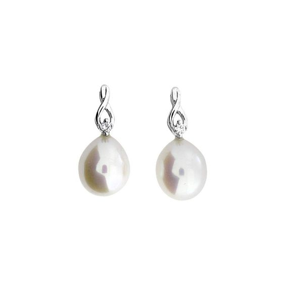 Oval white freshwater pearls sit beneath pretty polished twists of 9ct white gold.  The earrings are each finished with a single 0.02ct diamond.  Total diamond weight; 0.04ct.
