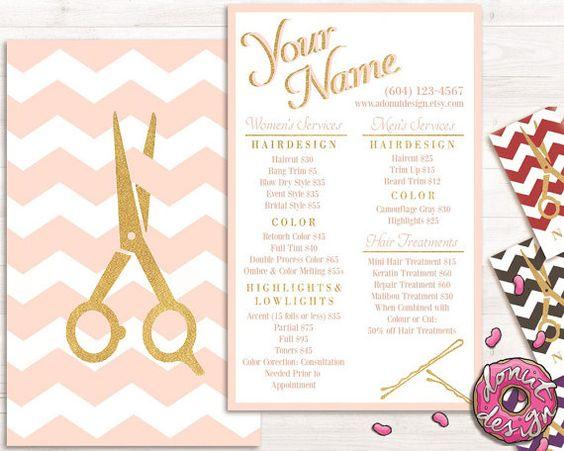 Premade gold chevro hair stylist service list, price list, salon brochure, template
