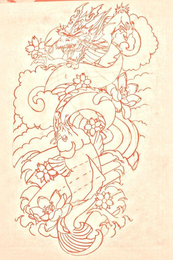 koi and dragon tattoo designs | koi dragon sleeve lines by BMXNINJA on deviantART