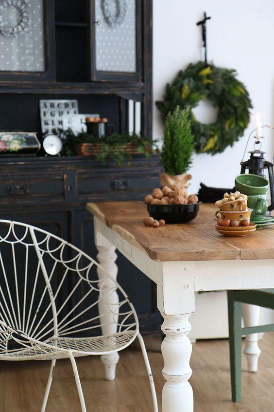 Massiver Holztisch, Shabby Chic, Antik