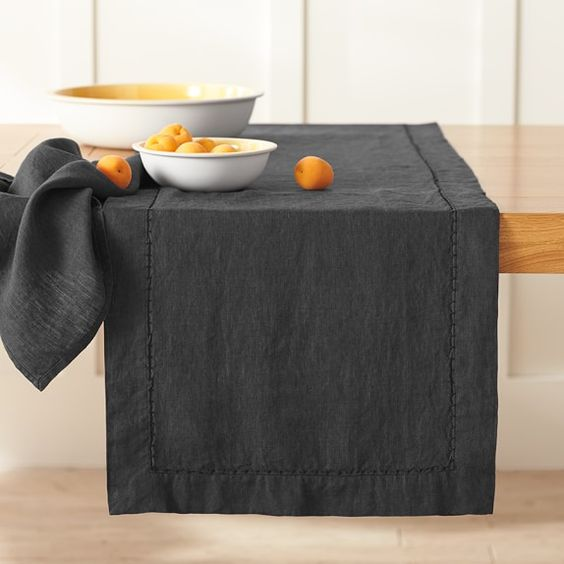 Washed-Linen Table Runner, Black