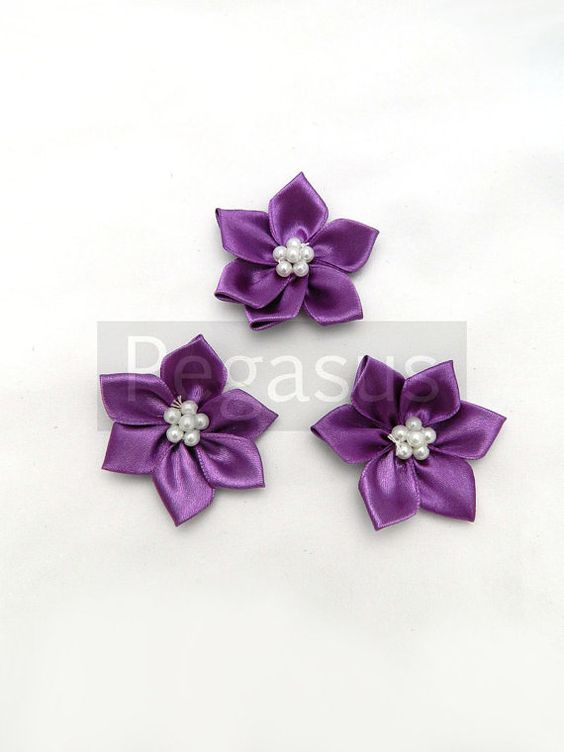 Lilac Purple Satin flowers   for flower girl accessories by pegasus22, $3.00