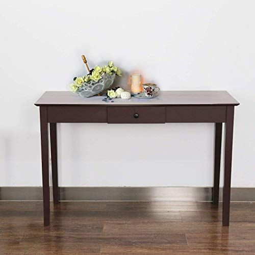 Kinbor Console Sofa Table Espresso Solid Wood Hallway Desk For Entryway With One Drawer Storage Sofa Table Storage Drawers Solid Wood