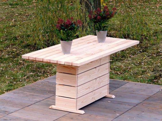 Gartentisch 2, wetterfestes Holz, Douglasie - Oberfläche: Natur