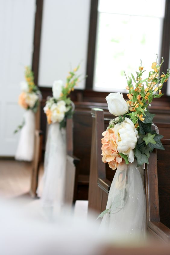 Church Decorations for small country church wedding in ivory and peach