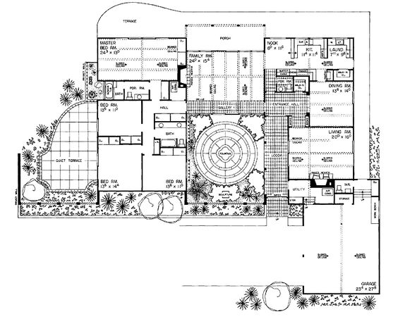 Spanish Courtyard House Plans   Four Bedroom Spanish Revival    Spanish Courtyard House Plans   Four Bedroom Spanish Revival