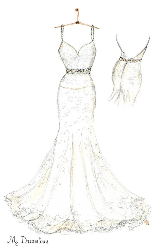Wedding dress sketch created by Dreamlines. http://www.mydreamlines.com/