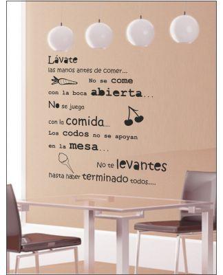 Vinilos para cocina decorativos textos pared comedor - Vinilos con textos ...
