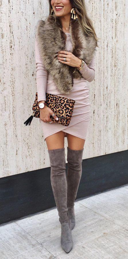 Outfits Con Botas Largas Y Vestido Looks De Invierno Con