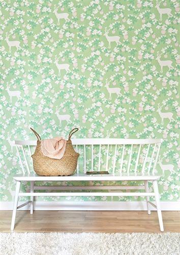 Majvillan, Tapet, Apple garden, grön/rosa/vit Tapeter Tapeter ...