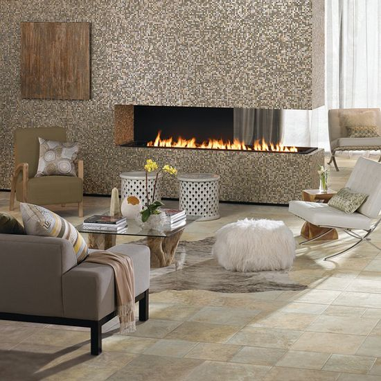 Photo features franciscan slate in desert crema 18 x 18 and 12 x 12 field tile on the floor for Living room city center barcelona