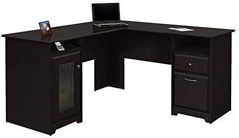 Amazon Com Bush Furniture Cabot L Shaped Computer Desk In Espresso Oak Kitchen Dining Bush Furniture Desk L Shaped Executive Desk