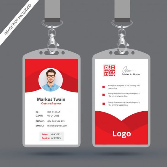 Red Employee Id Card Design Template Employee Id Card Id Card Template Employees Card