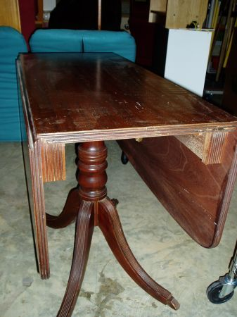 Mahogany Drop Leaf Table With Drawer 450
