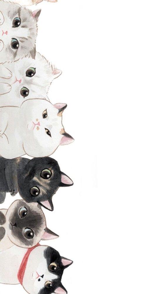 Desenhos de gatos curiosos.