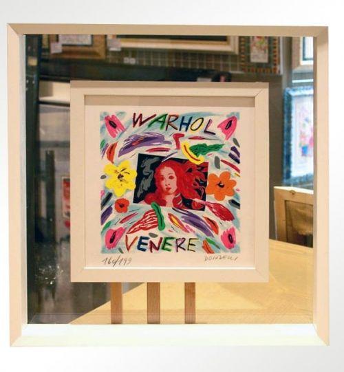 """Bruno Donzelli, """"Warhol Venere"""", serigrafia materica a smalti, cm 25X25, tiratura 99 es. fondo nero + 100 es. fondo bianco, anno 2010, € 150,00 cornice inclusa"""