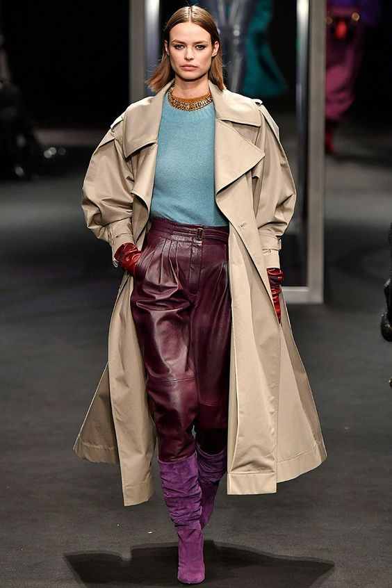 Autumn winter fashion trends 2018: Alberta Ferretti's slouchy purple boots tucked in leather trousers
