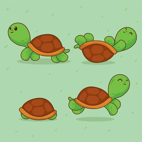 Cartoon Turtles Vector Cartoon Turtle Animal Illustration Kids Dog Emoji