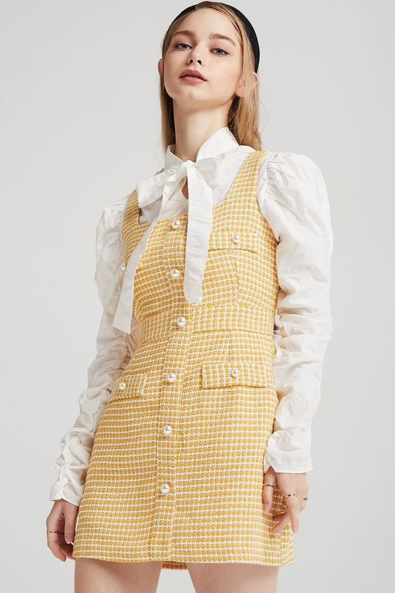 Tweed Pinafore Dress at storets. Discover more Dresses bloggers approved as seen on Instagram