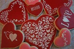 """Stenciled cookies from """"Creative Cakes and Cookies."""""""