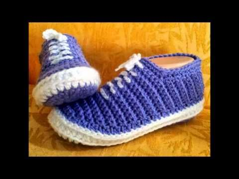 Tutorial Sandalias Crochet o Ganchillo Mary Jane Slippers (2 de 2) - YouTube