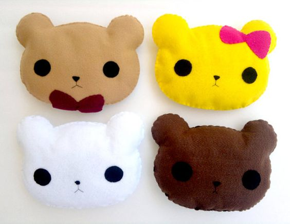 Cute Handsewn Teddy Bear, Kawaii Plush Felt Animal Pillow, Original Design, Brown, White, Yellow ...