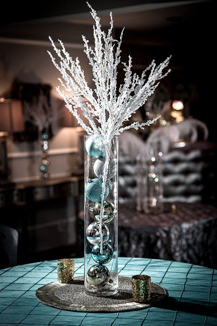 Winter wedding centerpieces and