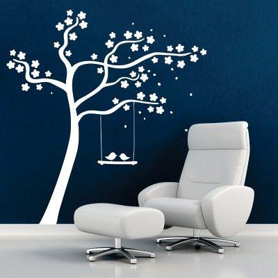 Adesivo murale uccellini sull 39 albero adesivo murale di - Adesivo albero ikea ...