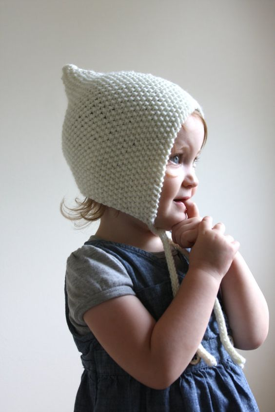 Knitting Pixie Hat Free Pattern : KNITTING PATTERN PDF File - Knit Pixie Bonnet Pattern - Baby Bonnet Pattern -...